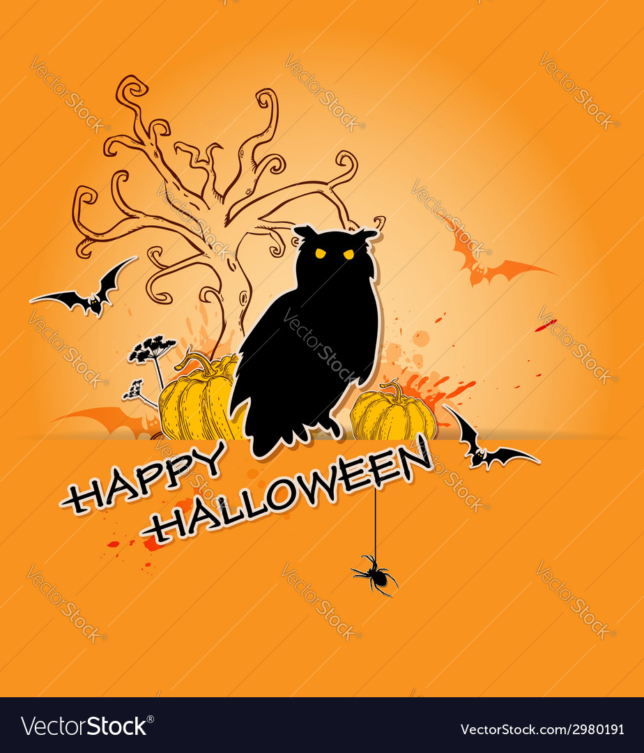 Halloween background with owl vector | Price: 1 Credit (USD $1)