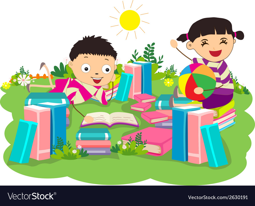 Kids studying book vector | Price: 1 Credit (USD $1)