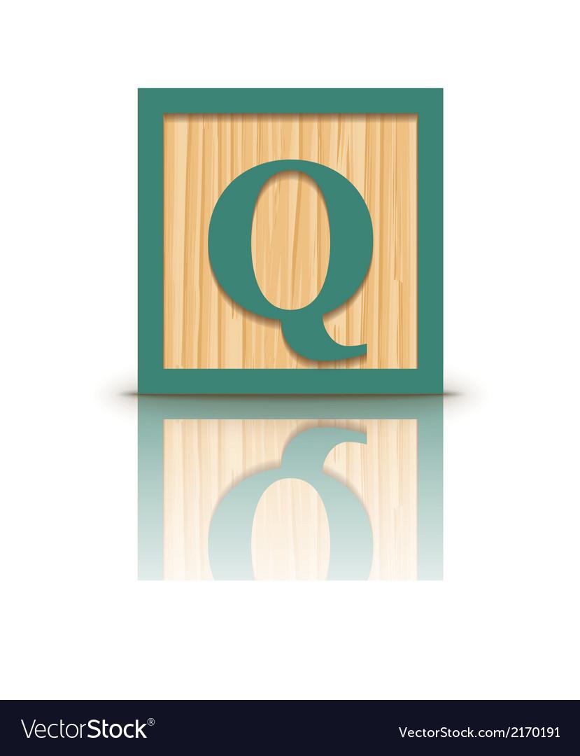 Letter q wooden alphabet block vector | Price: 1 Credit (USD $1)