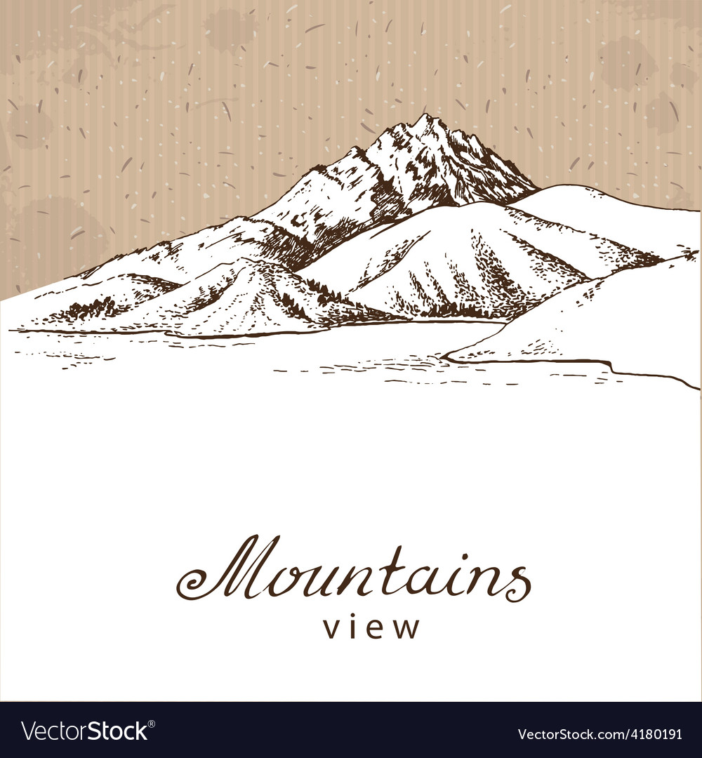 Mountains and lake white vector | Price: 1 Credit (USD $1)