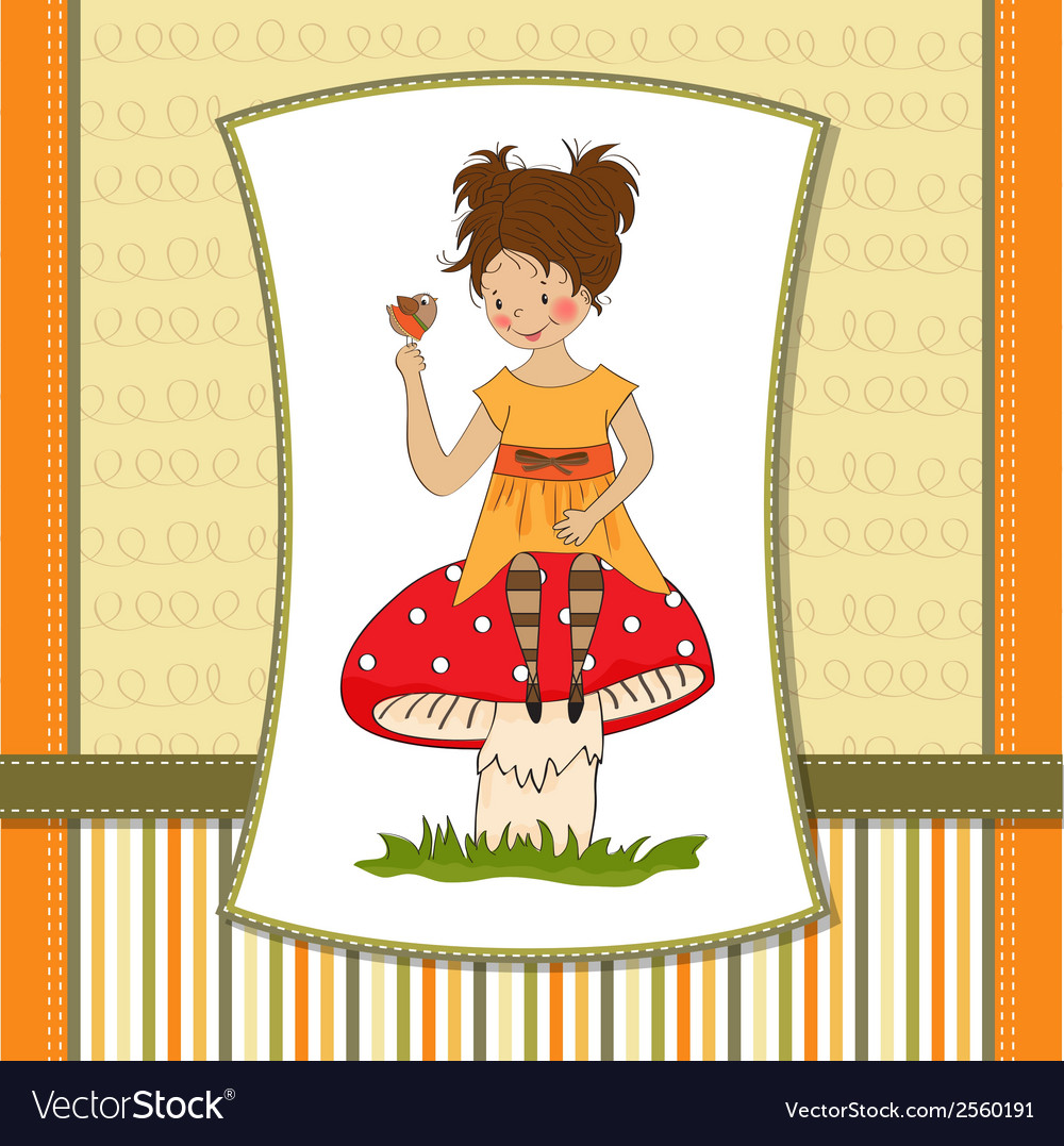 Pretty young girl sitting on a mushroom vector | Price: 1 Credit (USD $1)