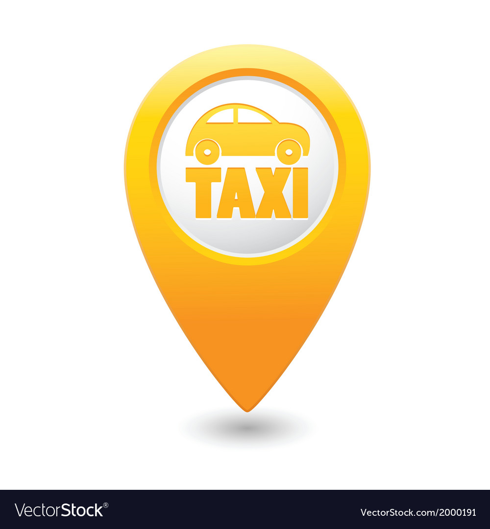 Taxi icon yellow map pointer4 vector | Price: 1 Credit (USD $1)
