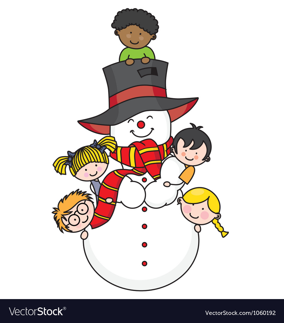 Children playing with a snowman vector | Price: 1 Credit (USD $1)