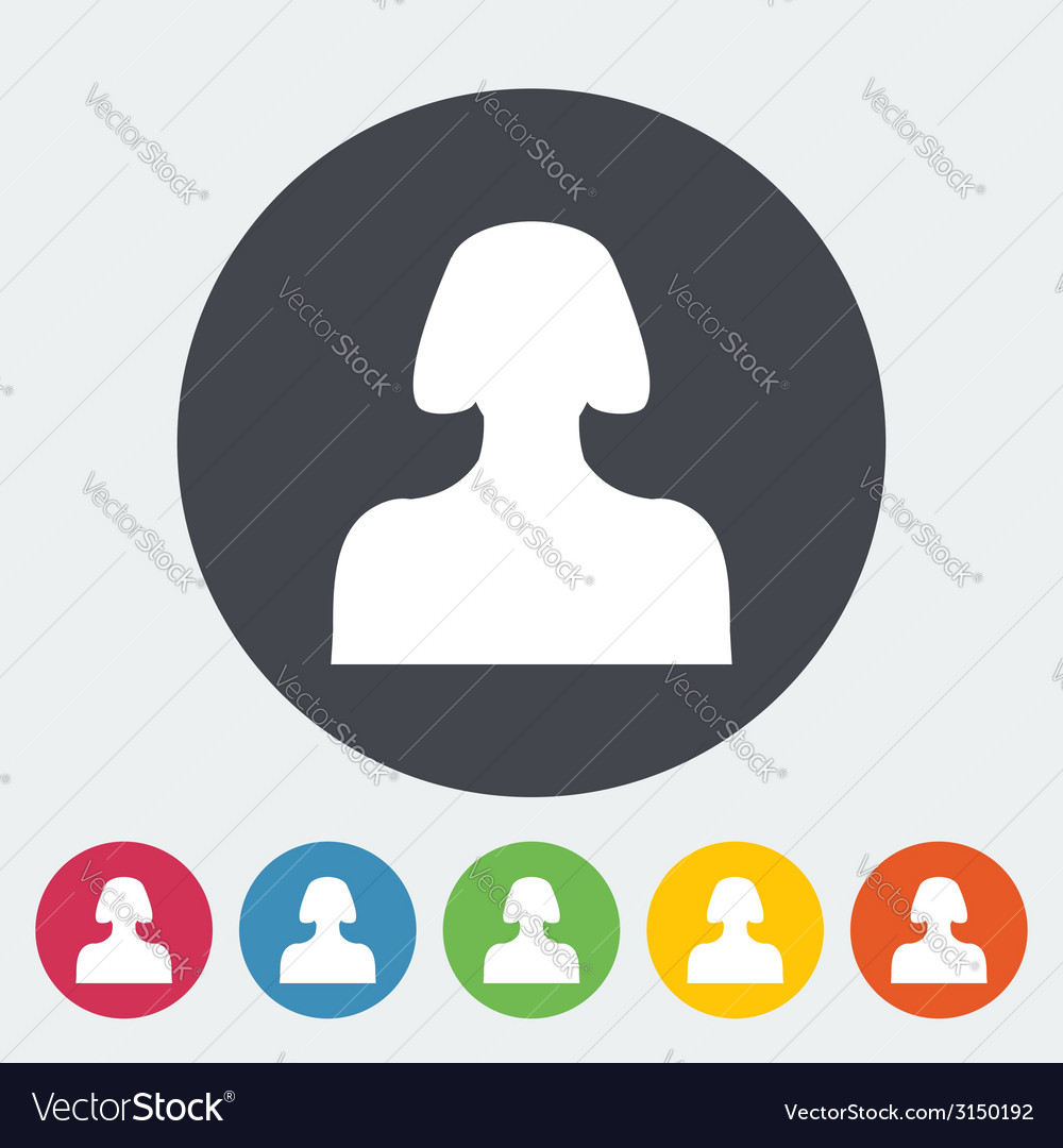 Female avatar flat single icon vector | Price: 1 Credit (USD $1)