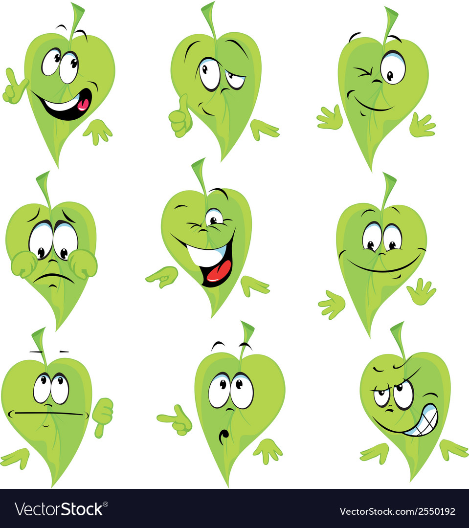 Green leaf cartoon vector | Price: 1 Credit (USD $1)