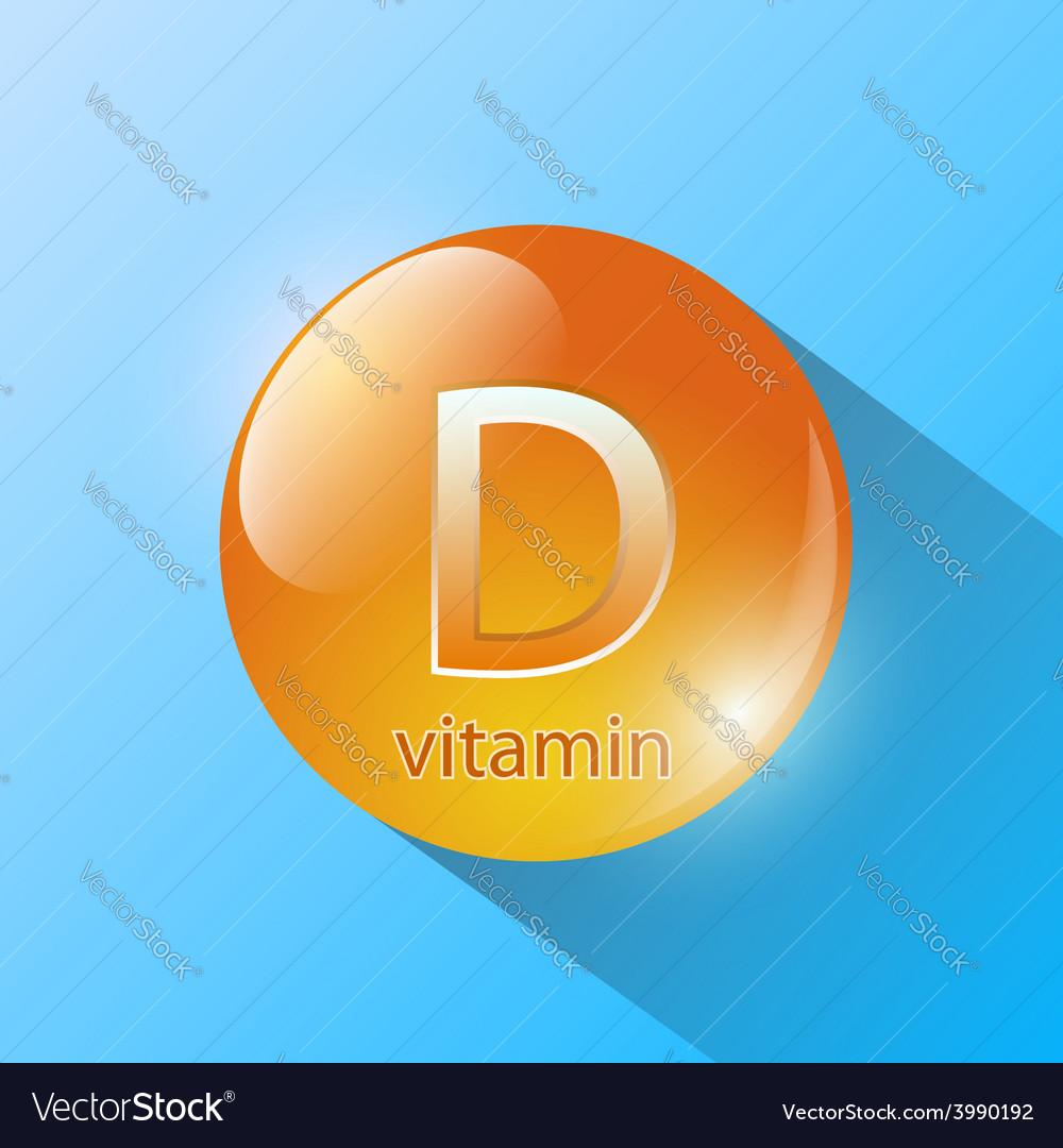 Orange capsule with vitamin d on a blue background vector | Price: 1 Credit (USD $1)