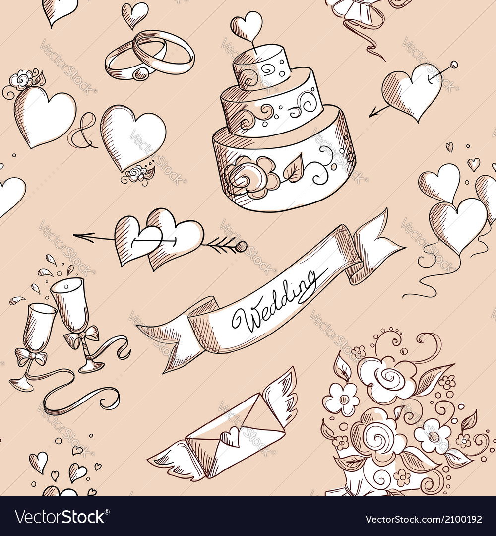 Seamless background with wedding design elements vector | Price: 1 Credit (USD $1)