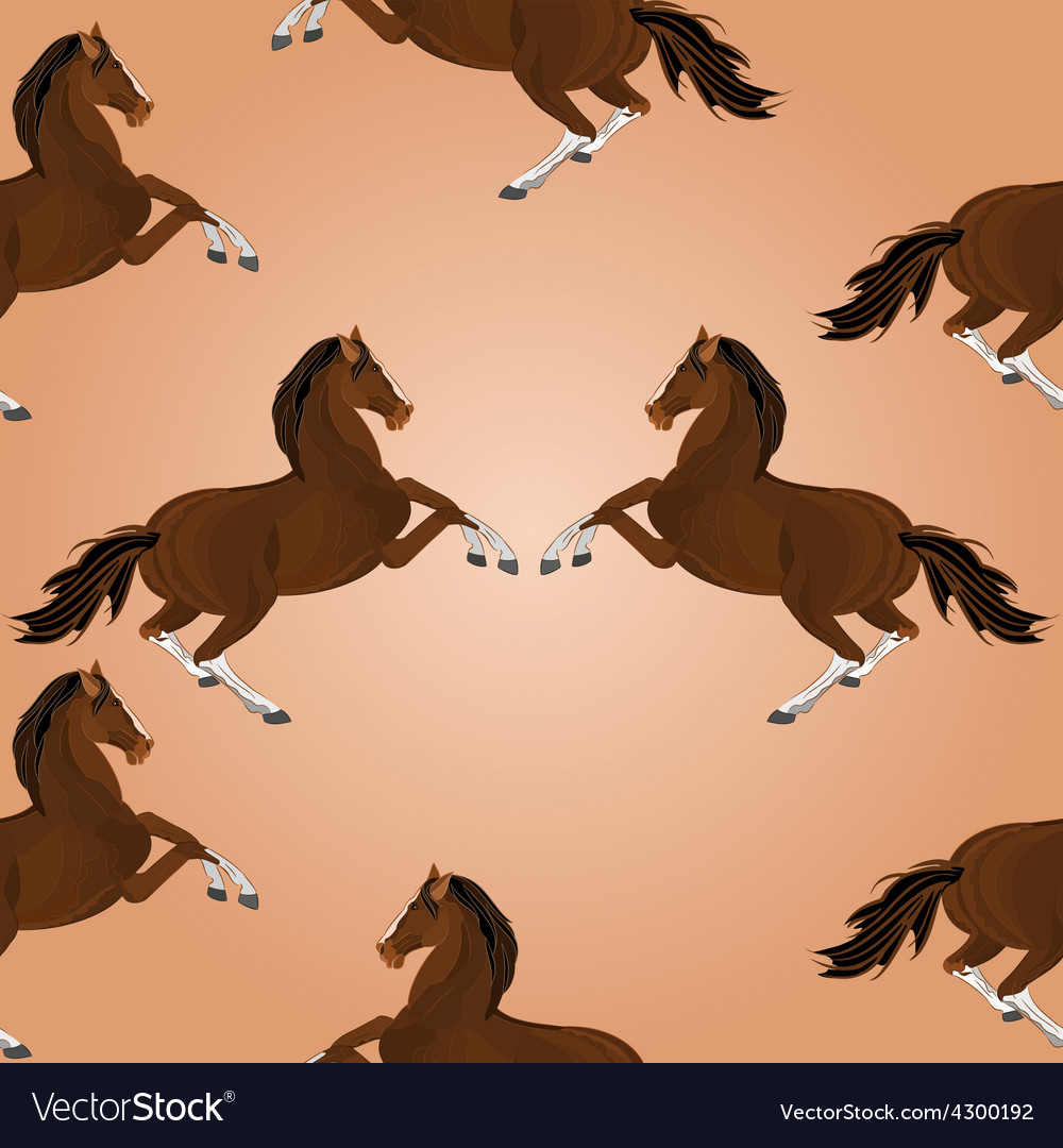 Seamless texture of brown horse jumping vector | Price: 1 Credit (USD $1)