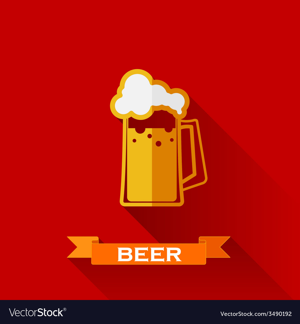 With beer pint icon in flat design style with long vector | Price: 1 Credit (USD $1)