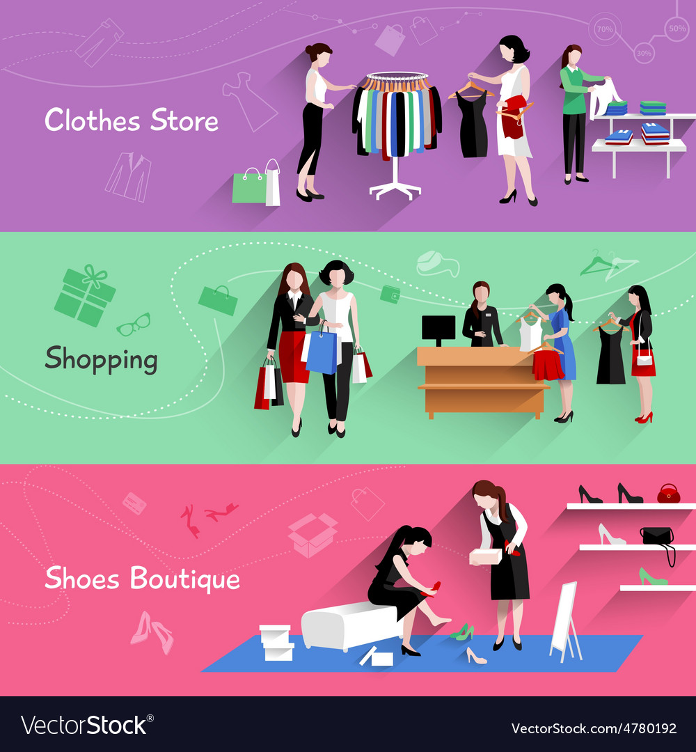 Woman shopping banner set vector | Price: 3 Credit (USD $3)
