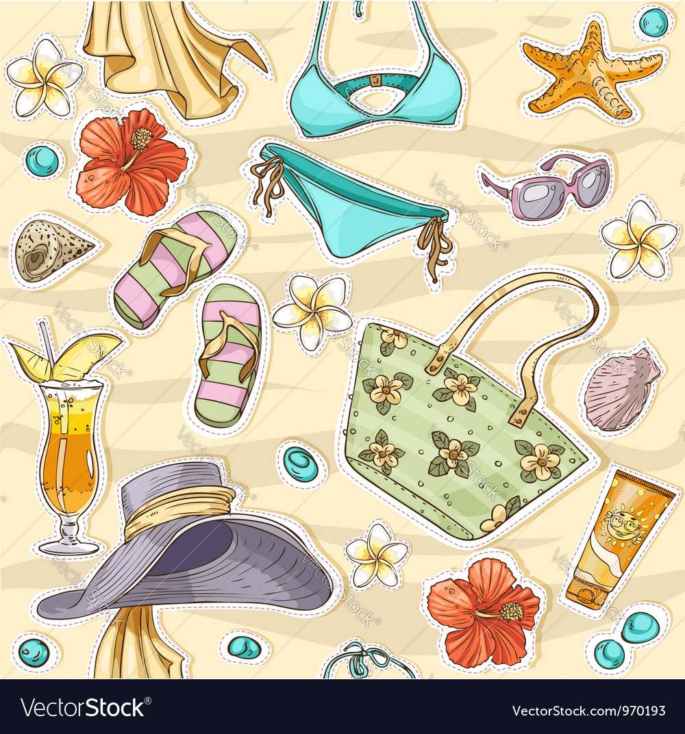 Color seamless background on a beach theme goggles vector