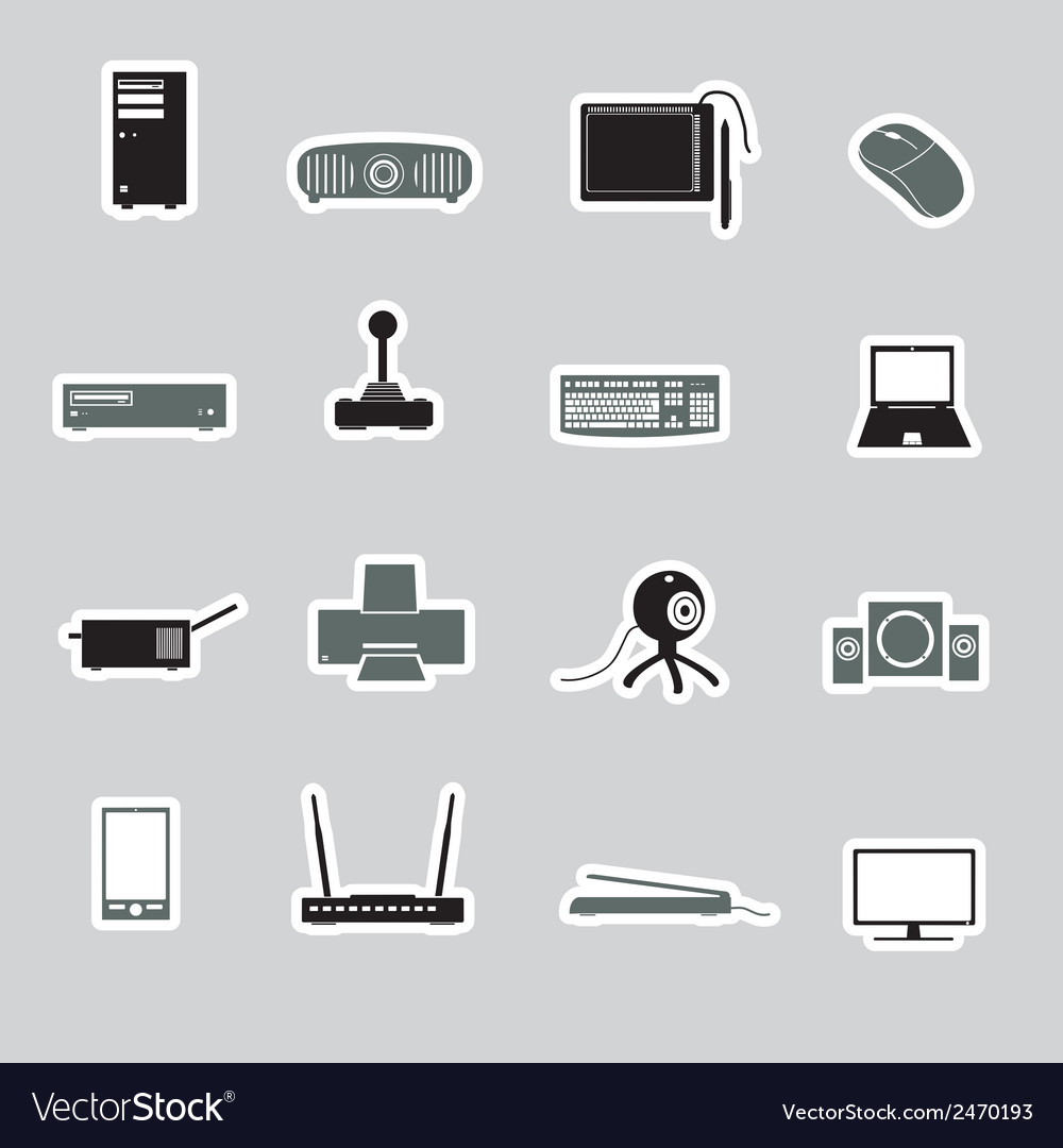 Computer peripherals stickers eps10 vector | Price: 1 Credit (USD $1)