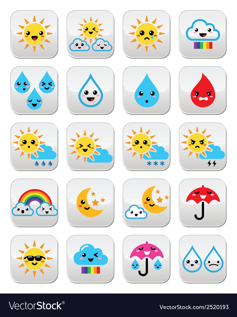 Cute sun rainbow moon rain and cloud - kawaii vector | Price: 1 Credit (USD $1)