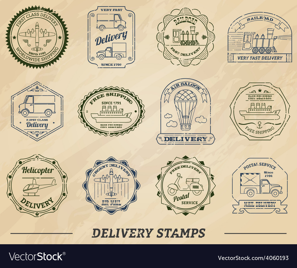 Delivery stamps set vector | Price: 1 Credit (USD $1)