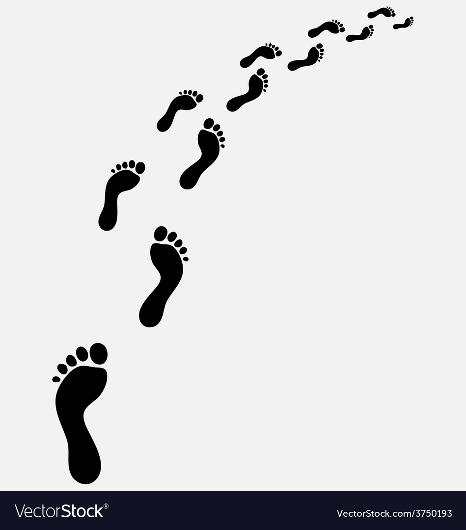 Footsteps turn right vector | Price: 1 Credit (USD $1)