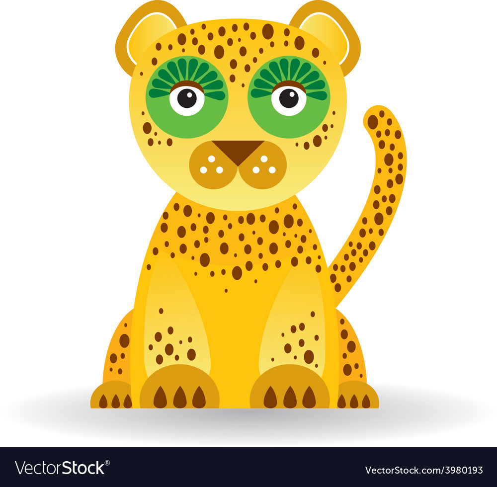 Funny jaguar on white background vector | Price: 1 Credit (USD $1)