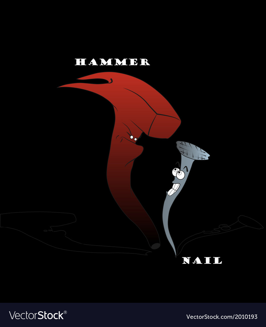 Hammer and nail cartoon - hand drawn vector | Price: 1 Credit (USD $1)