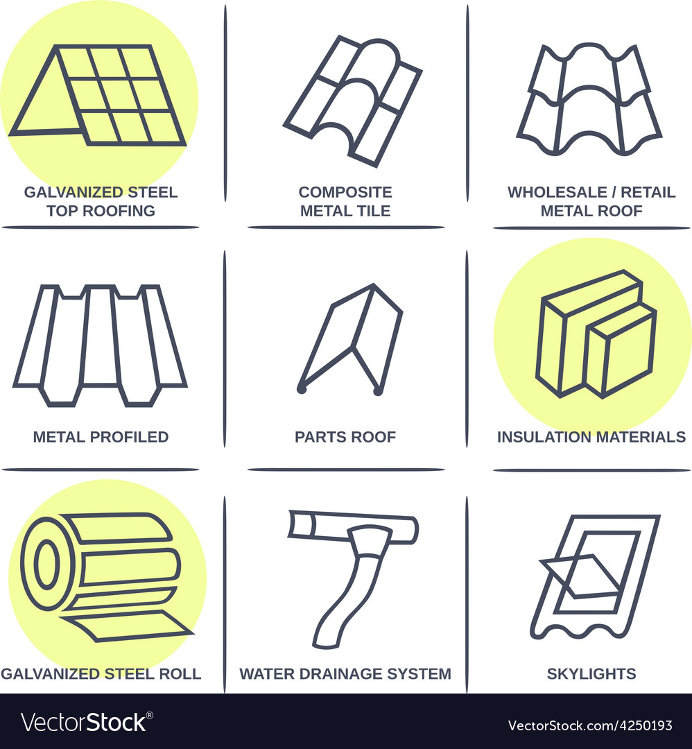 Sale buildings materials roof facade site icons vector | Price: 1 Credit (USD $1)