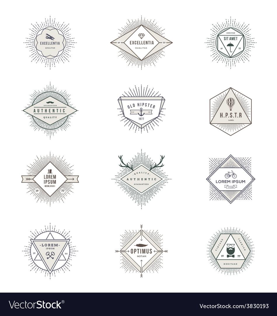 Set of hipster sunburst line signs and emblems vector | Price: 1 Credit (USD $1)