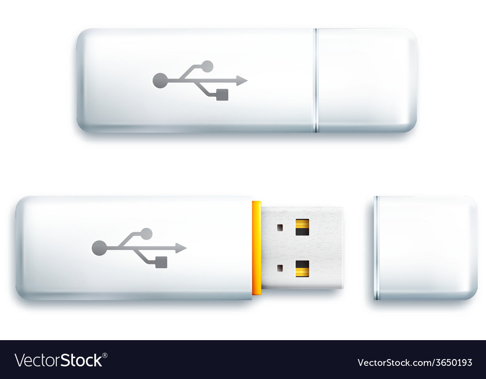 Usb flash drive on white background vector | Price: 1 Credit (USD $1)