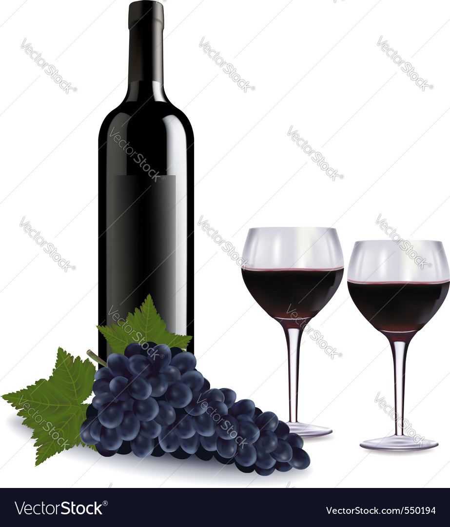 A wine bottle two glasses vector | Price: 3 Credit (USD $3)