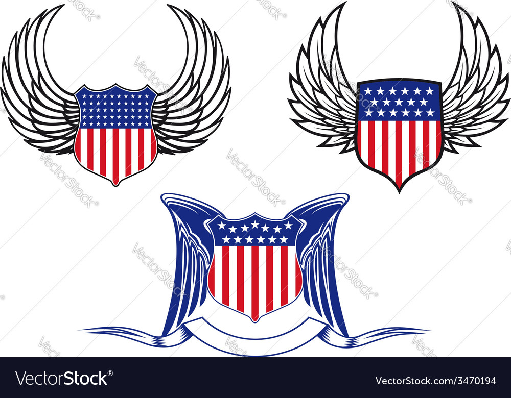 American shields with angel wings vector | Price: 1 Credit (USD $1)