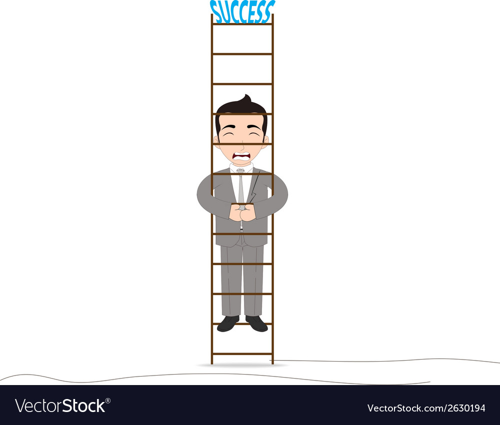 Businessman climbing up with the fear vector | Price: 1 Credit (USD $1)