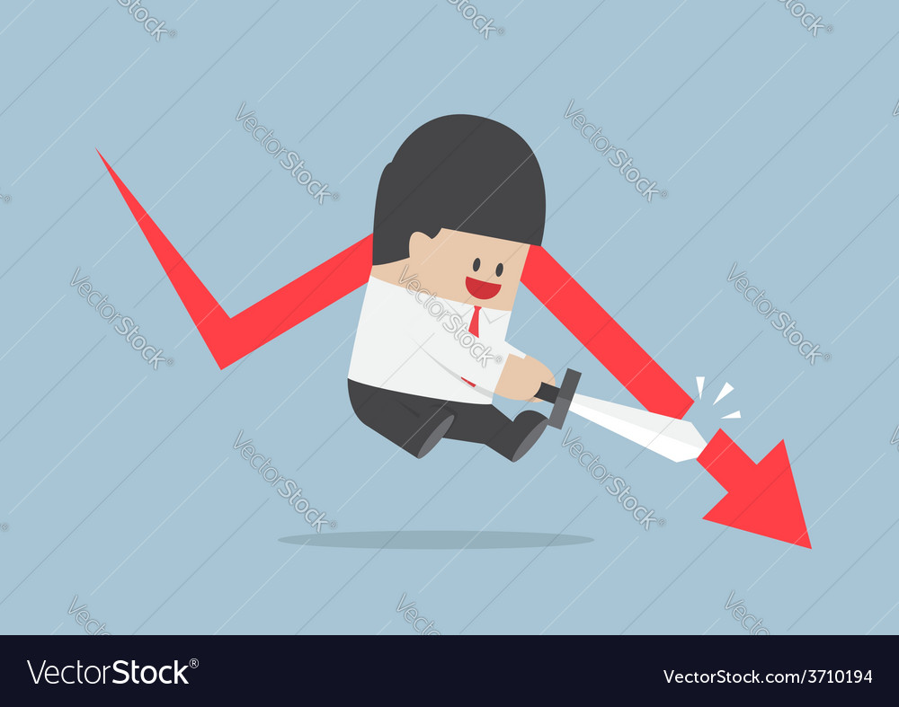 Businessman cut the falling graph stock market f vector | Price: 1 Credit (USD $1)