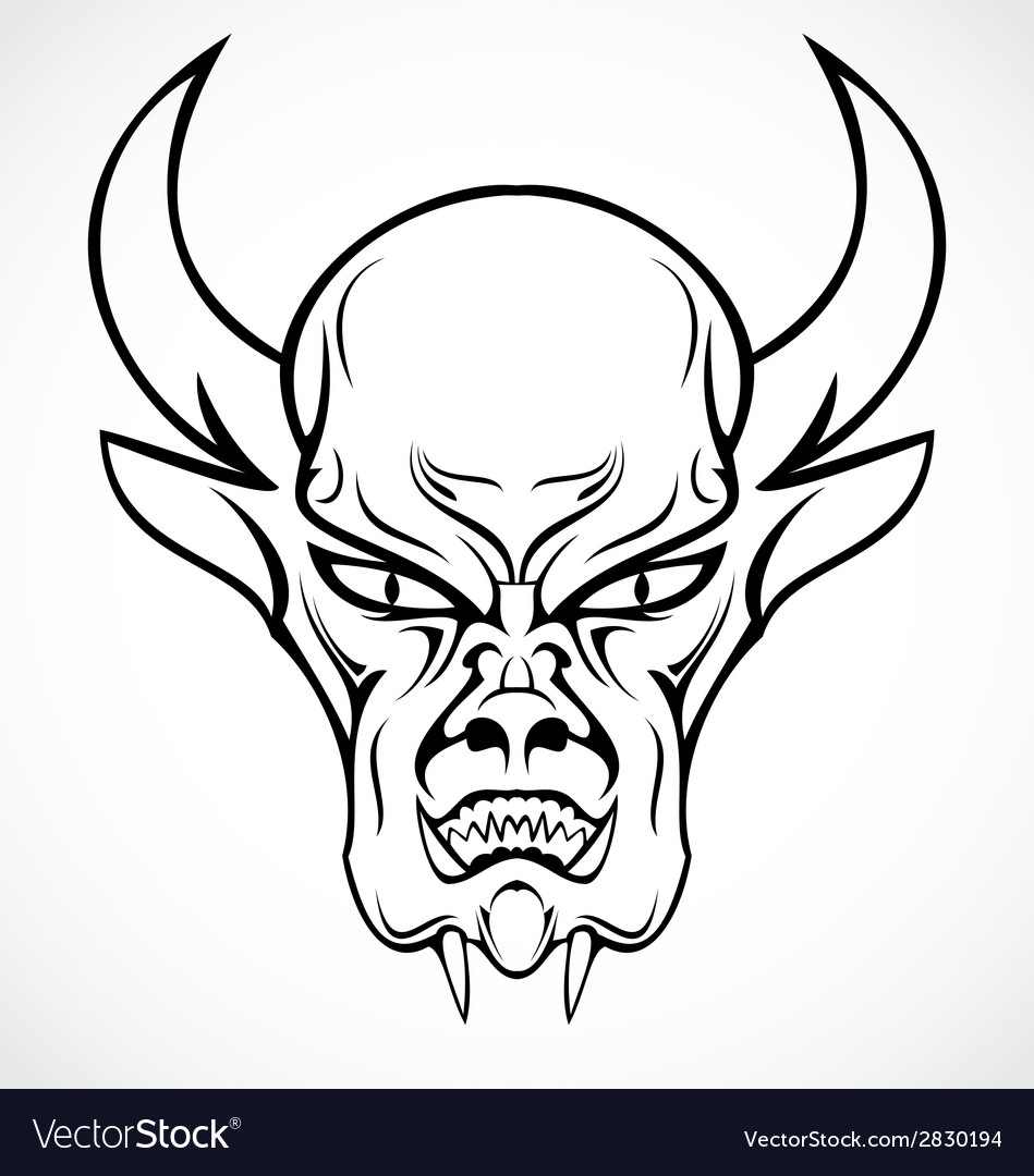 Devil face tattoo design vector | Price: 1 Credit (USD $1)