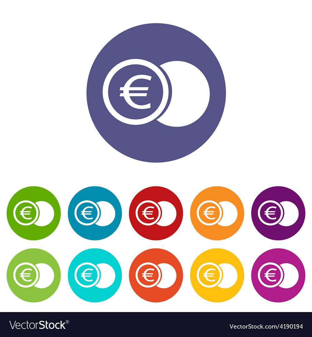 Euro coin flat icon vector | Price: 1 Credit (USD $1)