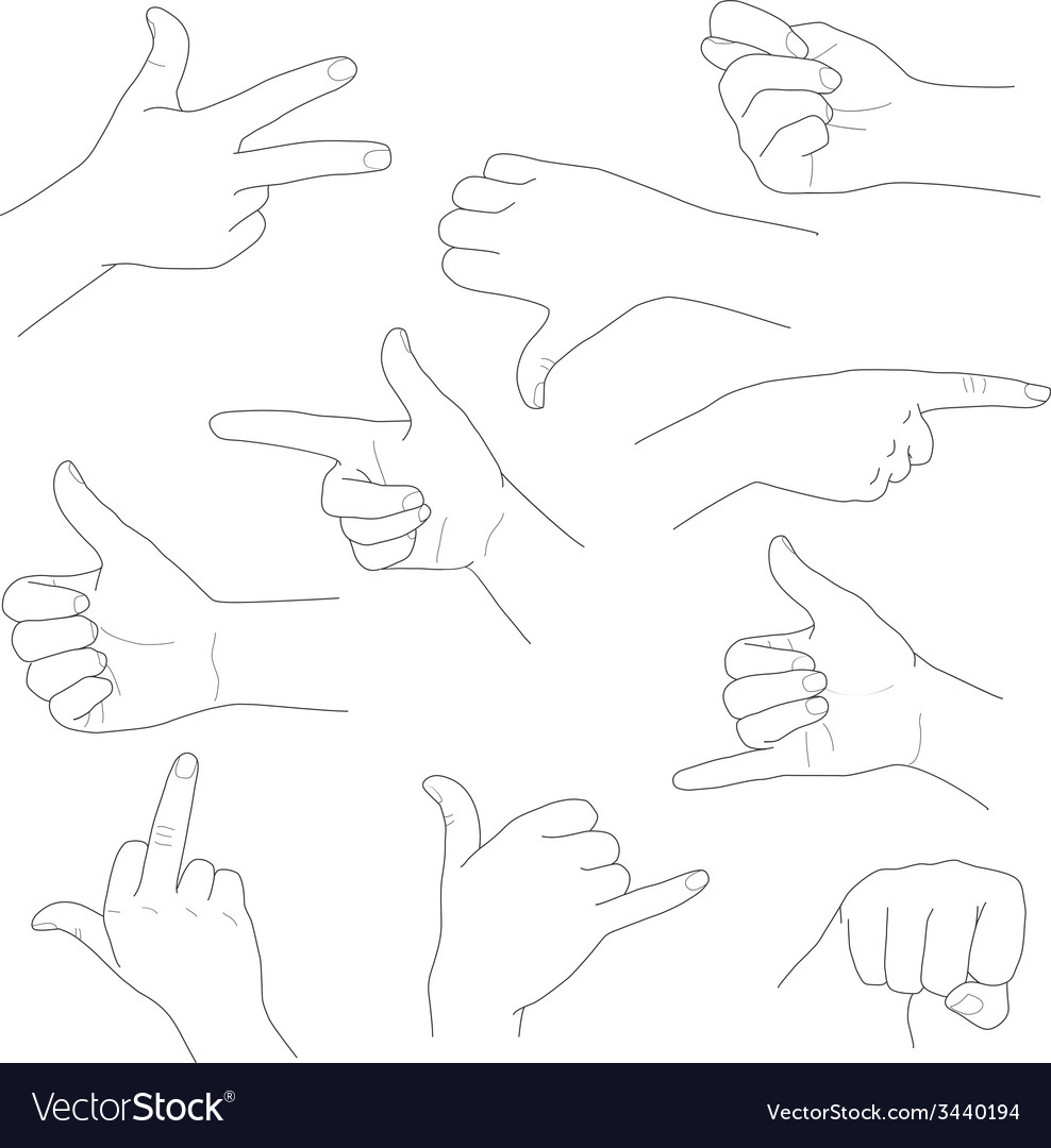 Hands in different gestures and interpretations vector | Price: 1 Credit (USD $1)