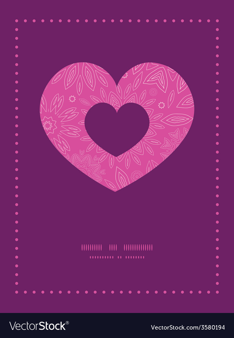 Pink abstract flowers texture heart symbol frame vector | Price: 1 Credit (USD $1)
