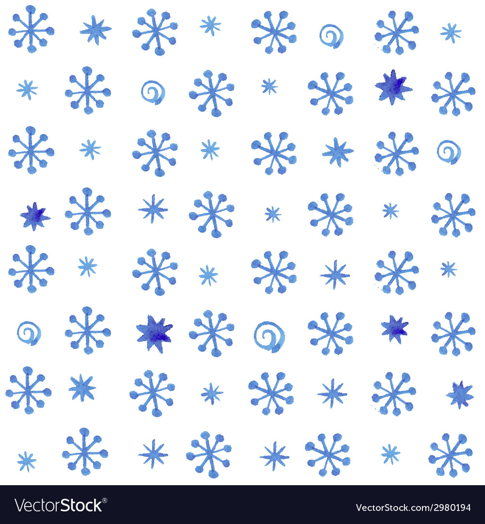 Watercolor seamless pattern with blue snowflakes vector | Price: 1 Credit (USD $1)