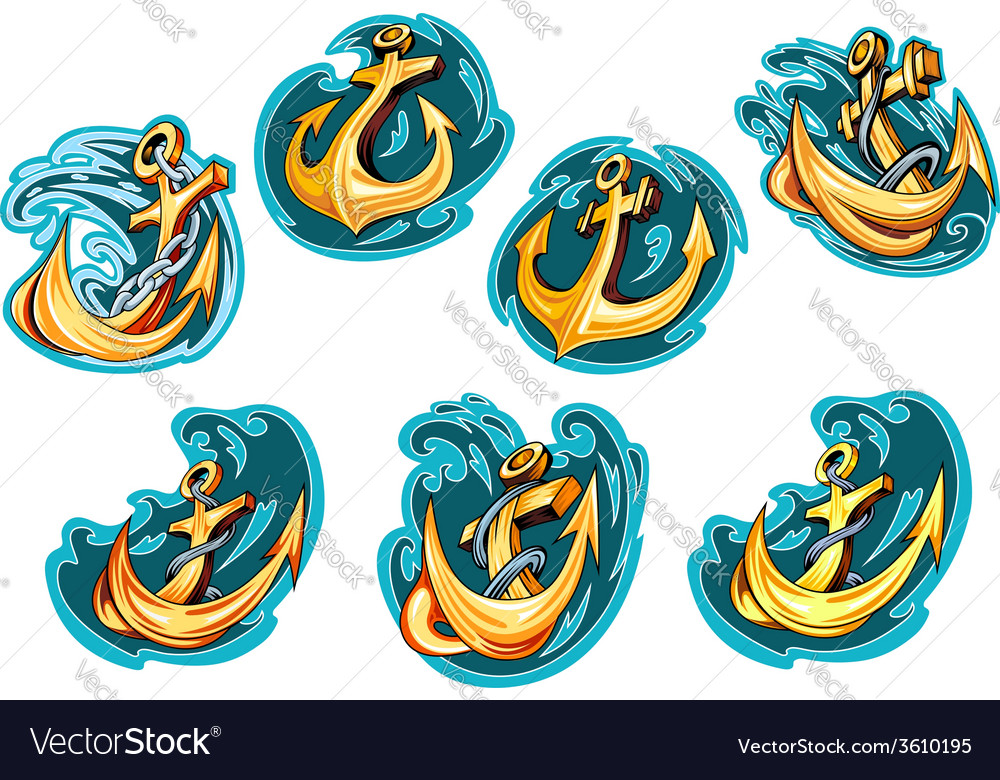 Anchor on blue wave design elements vector | Price: 1 Credit (USD $1)