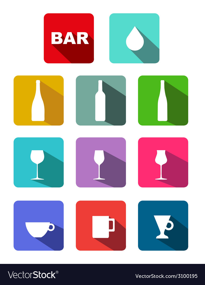 Bottles glasses cups icons set with long shadow vector | Price: 1 Credit (USD $1)