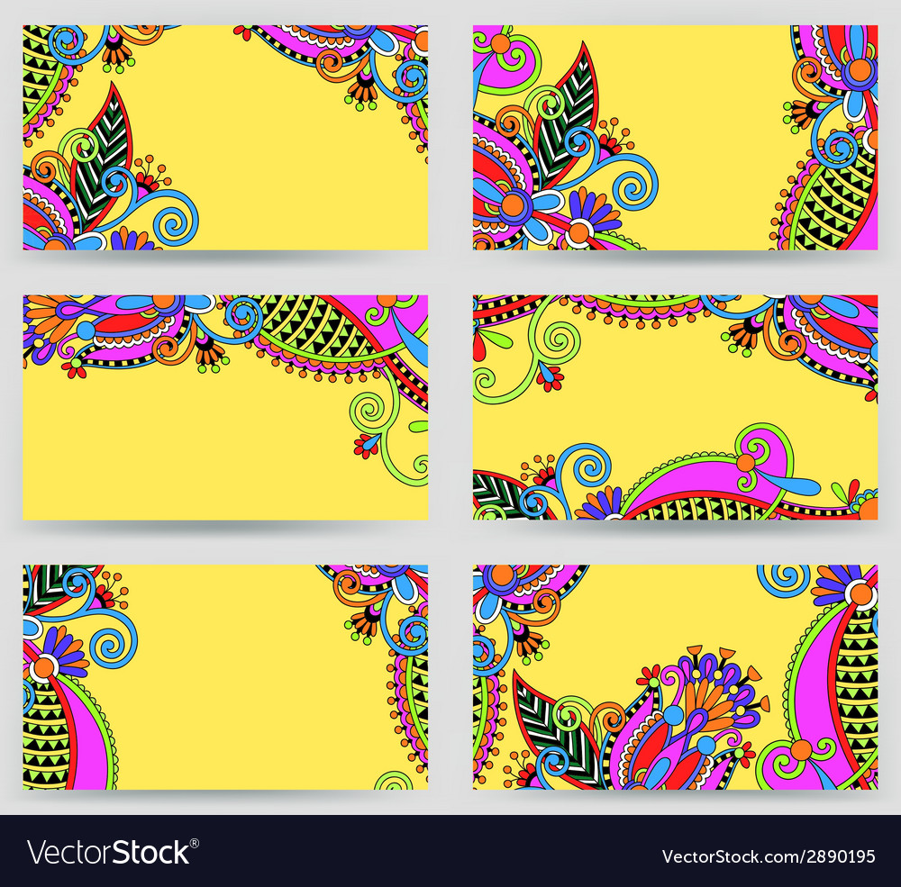 Collection of colorful floral ornamental business vector | Price: 1 Credit (USD $1)