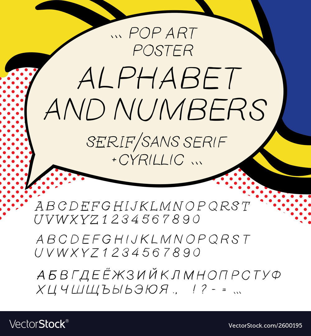 Comics pop art alphabet and numbers vector | Price: 1 Credit (USD $1)