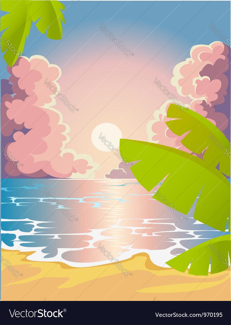 Evening beach vector | Price: 1 Credit (USD $1)