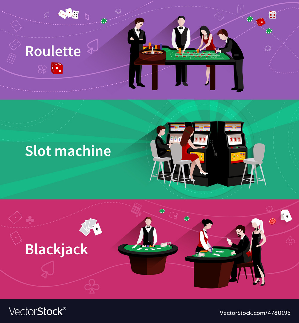 People in casino banner set vector | Price: 3 Credit (USD $3)