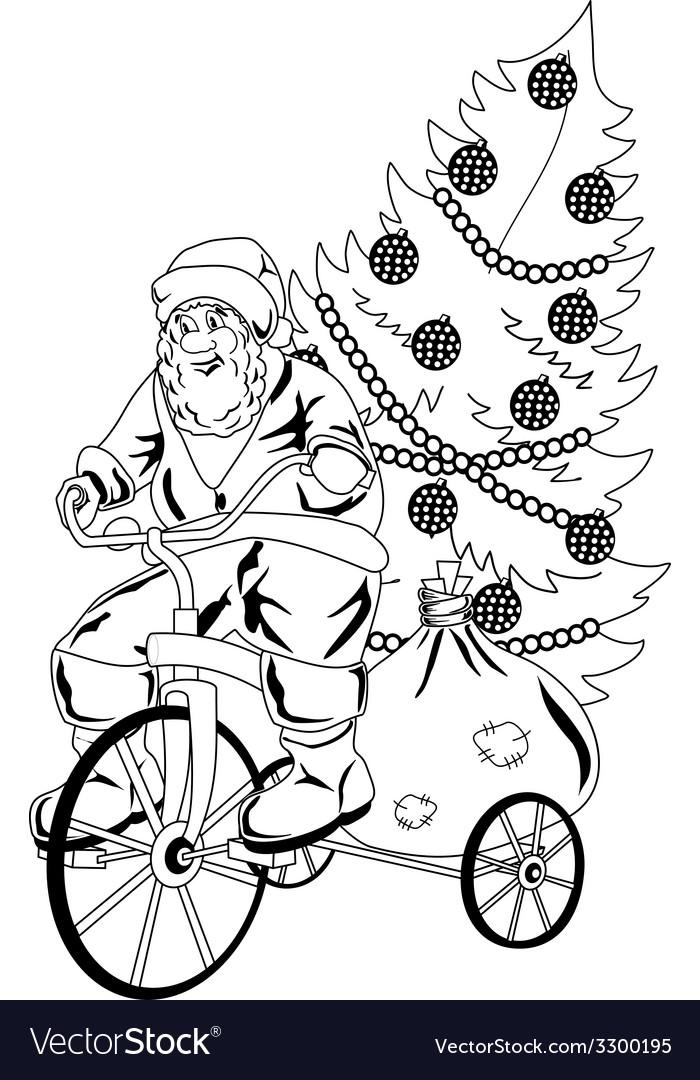 Santa claus rides the bicycle vector | Price: 1 Credit (USD $1)