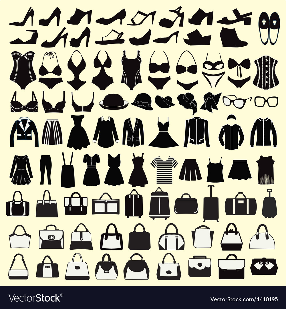 Set of fashion woman clothing and accessories vector