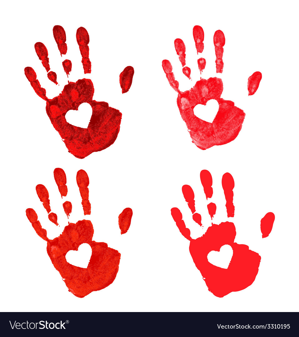 Set of hand print with heart icon vector | Price: 1 Credit (USD $1)