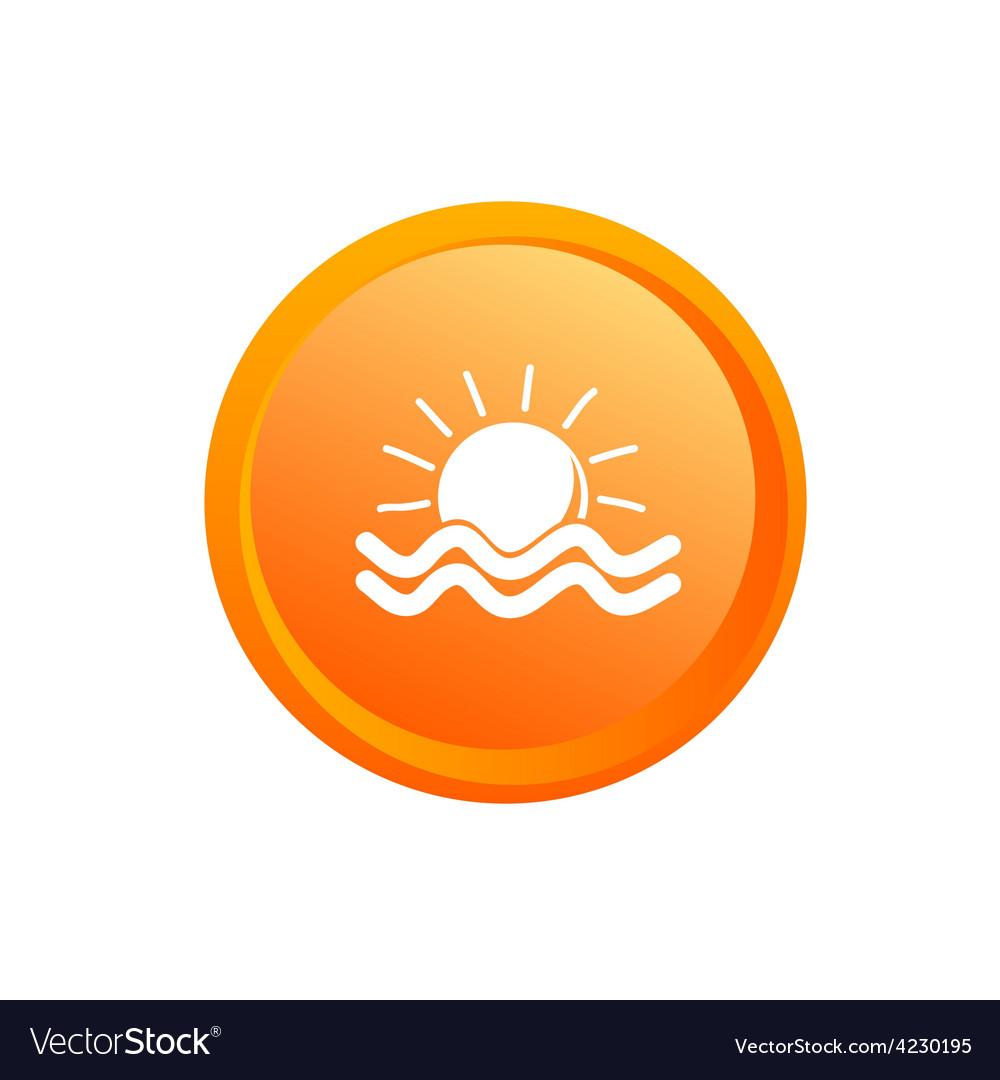 Sun and sea button vector | Price: 1 Credit (USD $1)