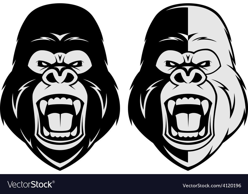 Angry gorilla head vector | Price: 1 Credit (USD $1)