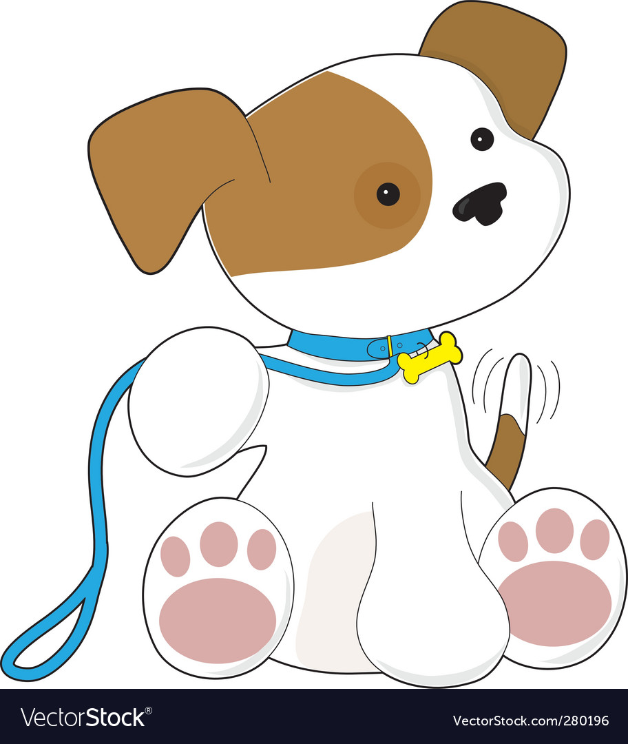 Cute puppy and leash them vector | Price: 1 Credit (USD $1)