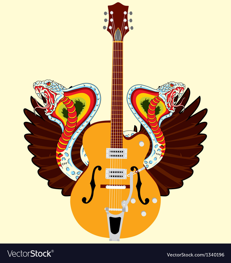 Electric guitar and snake wing vector | Price: 1 Credit (USD $1)