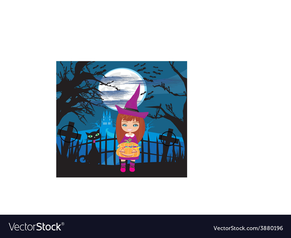Girl in witch costume holding pumpkin with candy vector | Price: 1 Credit (USD $1)