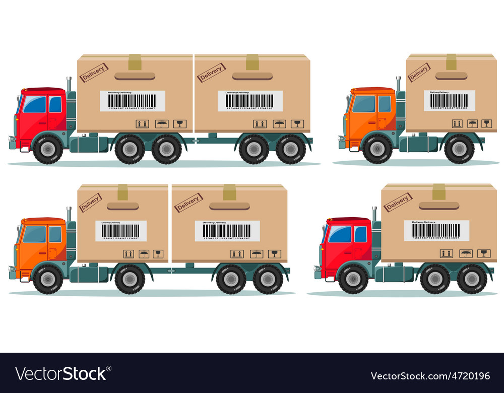Long truck with cargo goes to the warehouse vector | Price: 3 Credit (USD $3)