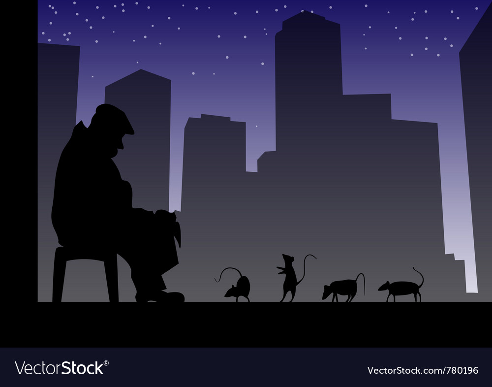 Old man and rats vector | Price: 1 Credit (USD $1)