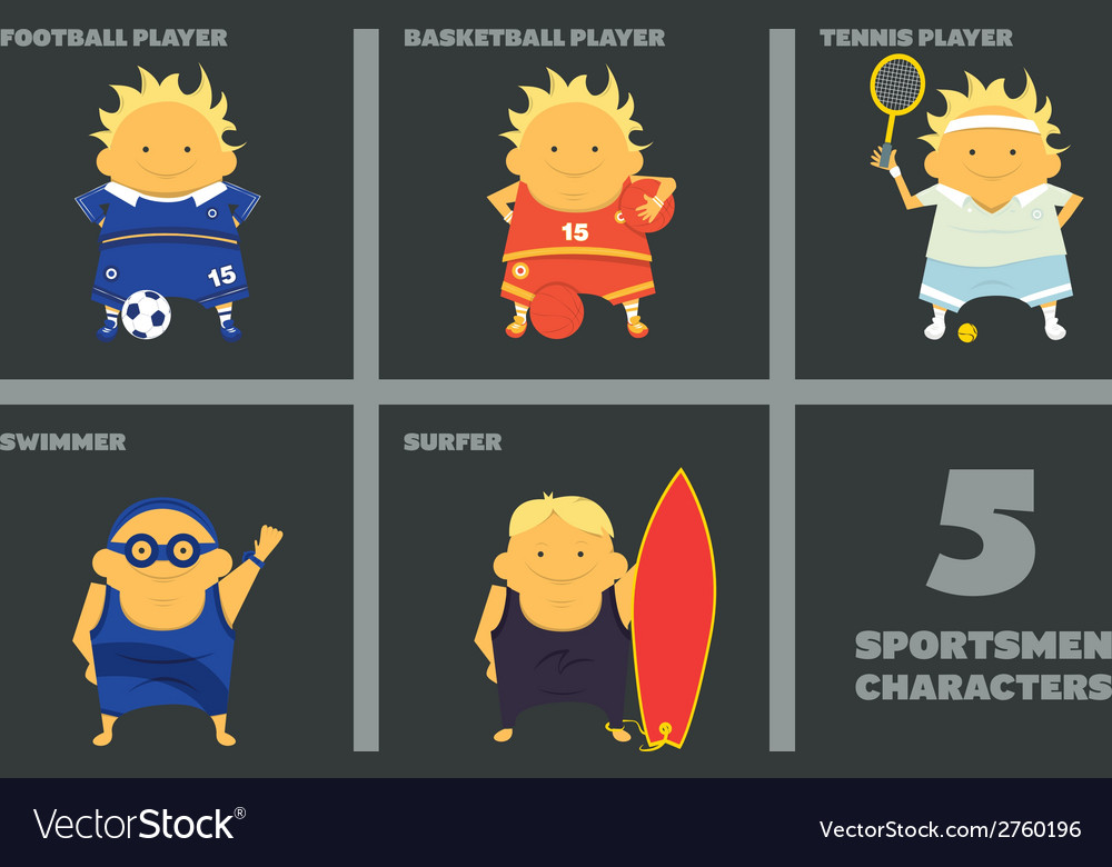 Sportsmen characters vector | Price: 1 Credit (USD $1)